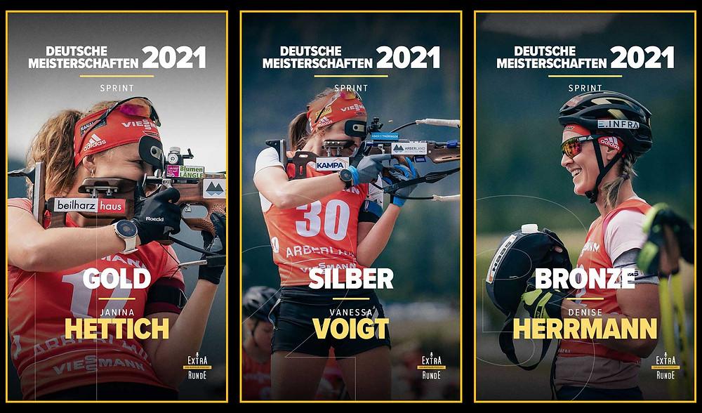Janina Hettich holt Gold im Sprint vor Vanessa Voigt und Denise Herrmann im Sprint der Damen am Arber.