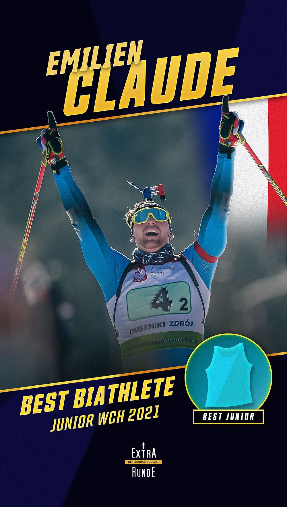 Emilien Claude ist der beste Biathlet der Biathlon Juniorweltmeisterschaft 2021 in Obertilliach.