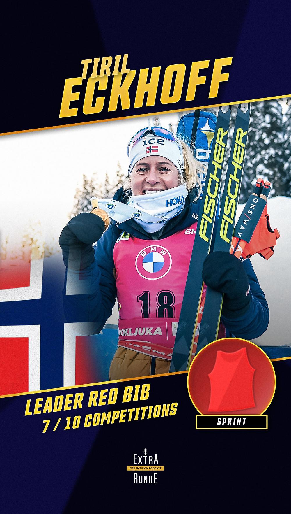 Tiril Eckhoff führt akutell in der Wertung des Biathlon Sprints.