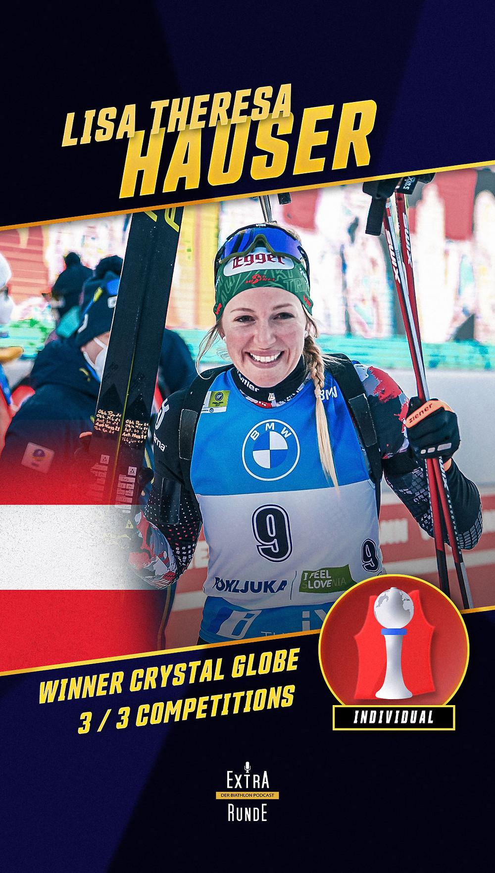 Lisa Theresa Hauser gewinnt zusammen mit Dorothea Wierer die Wertung im Biathon Einzel.
