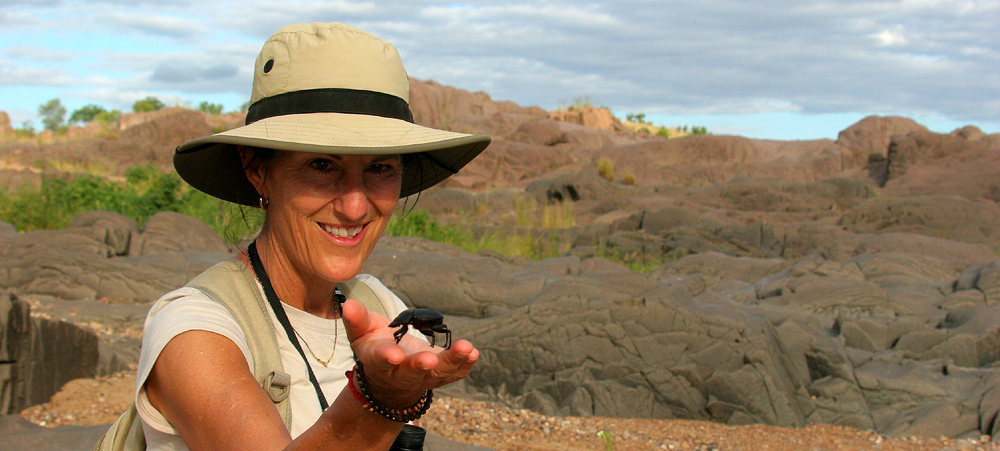 Suzanne with scarab beetle