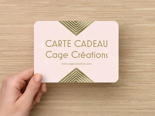 Carte cadeau Cage Créations