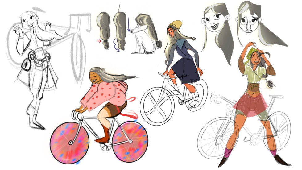 cycling character sketches 3