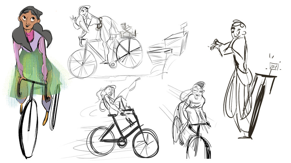 cycling character sketches
