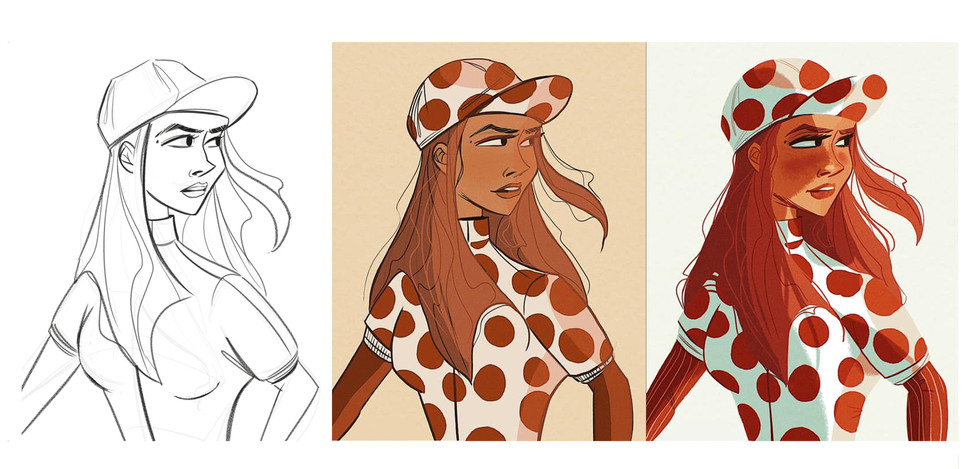 Maillot a pois - character illustration development