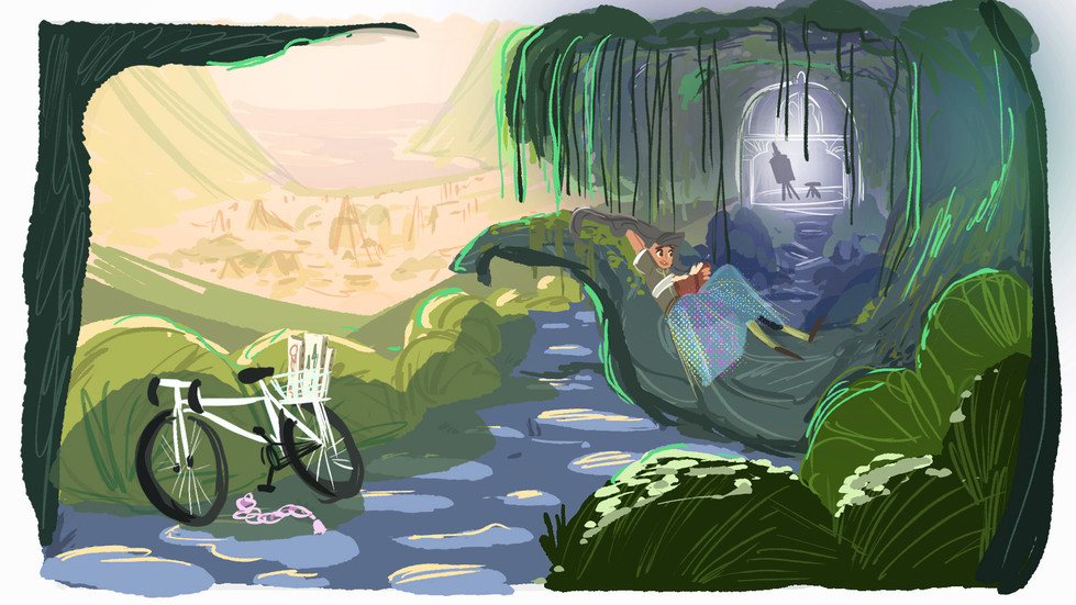 concept art from MA work in progress about cycling women