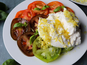 Colourful Tomatoes and Burrata Salad with Lemon Zest