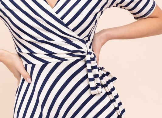 Nautical Stripe Faux Wrap Dress