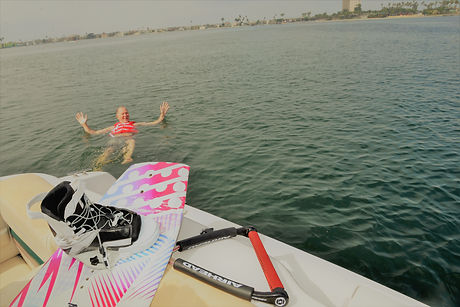 Relaxing after a wake boarding session