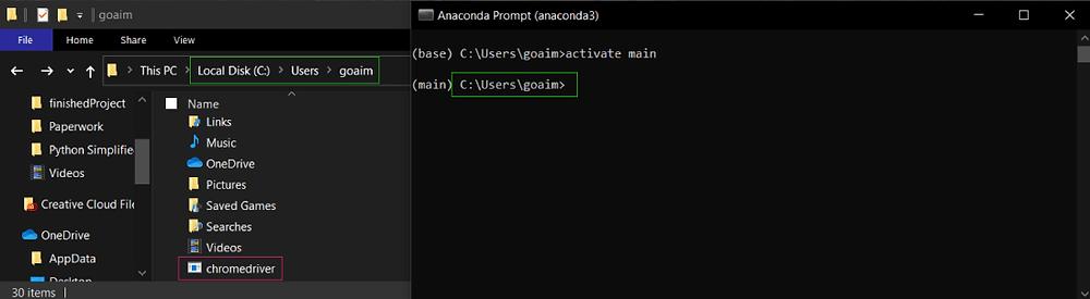 a screenshot of Chromedriver saved inside an Anaconda root folder