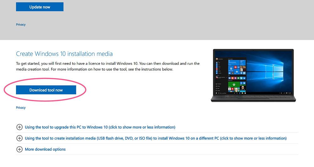 Create Windows 10 Installation Media Download Screenshot