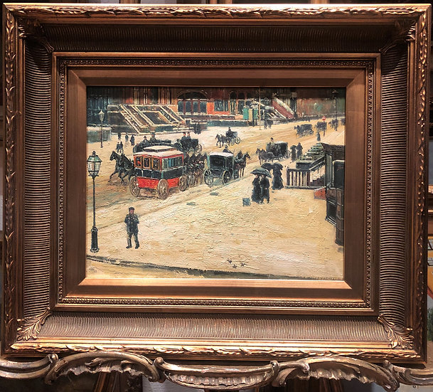 OIL PAINTING FINE IMPRESSIONISM (NEW YORK STREET SCENE) 20th CENTURY Gold frame