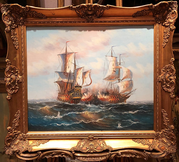 OLD MASTER LARGE OIL PAINTING 19th CENTURY STYLE Powerful Sea Scene GOLD