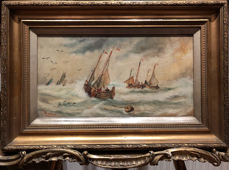 FINE OLD MASTER 19th CENTURY SEA OIL PAINTING BY C.Harding ? GOLD GILT FRAME