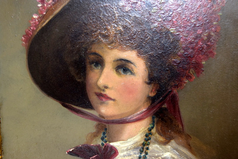 OLD MASTER LATE 19th CENTURY FRENCH OIL PAINTING Portrait Of Pretty Young Woman