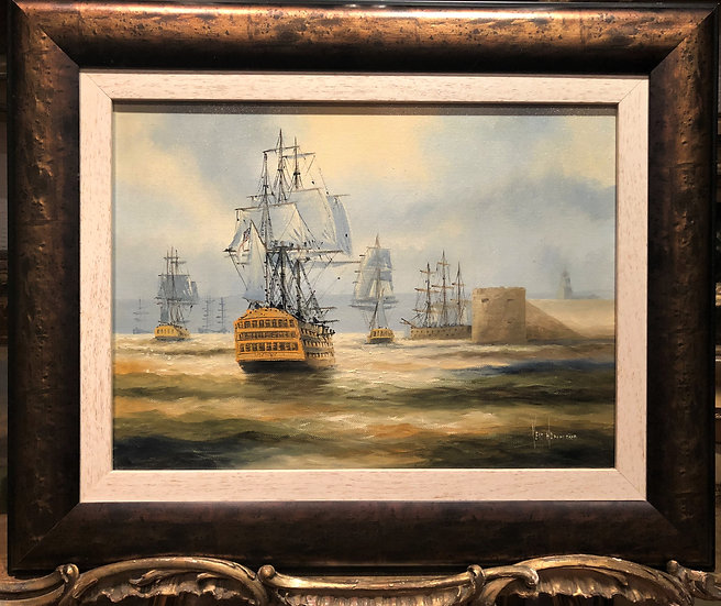 OIL PAINTING MASTER KEN HAMMOND 20th CENTURY MARINE SHIP SCENE BRONZE GILT FRAME