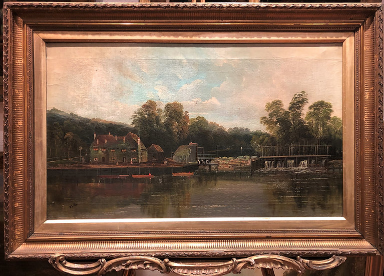 FINE OLD MASTER OIL PAINTING EARLY 1800's by S L . ALLAN GOLD GILT FRAME