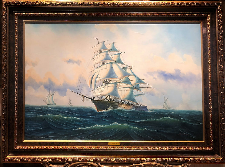LARGE OIL PAINTING ( NAVY ) MARITIME SAILING PIECE MASTER SYYLE 20th CENTURY