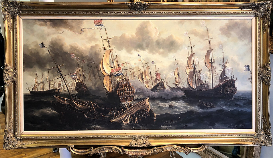 HUGE OIL PAINTING  MARITIME SHIP MASTER PIECE 20th CENTURY