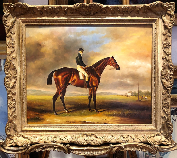 OIL PAINTING RACE HORSE SCENE By FINE PIECE 20th CENTURY ARTIST HAS GOOD HAND