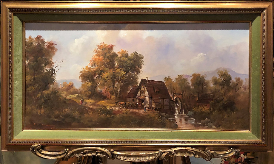 """OIL PAINTING IN FINE GOLD GILT FRAME """"Old master style"""" Beautiful Village Scene"""