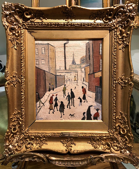 "OLD MASTER Signed L S Lowry Oil Painting "" Off to the Factory"" 20th CENTU"