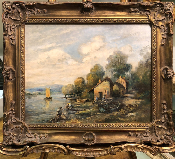 OIL PAINTING OF A Boat House  By M . J . RENDALL MID 20th CENTURY IMPRESSIONISM