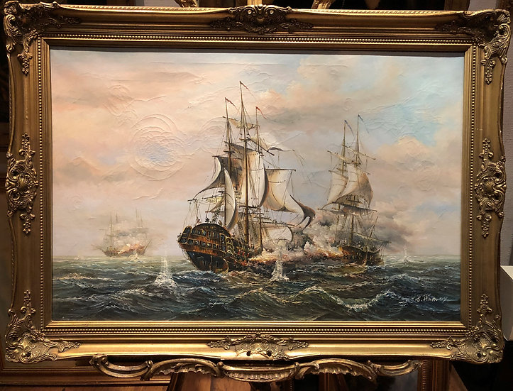 OLD MASTER LARGE OIL PAINTING 19th CENTURY STYLE Powerful Sea Scene GOLD FRAME