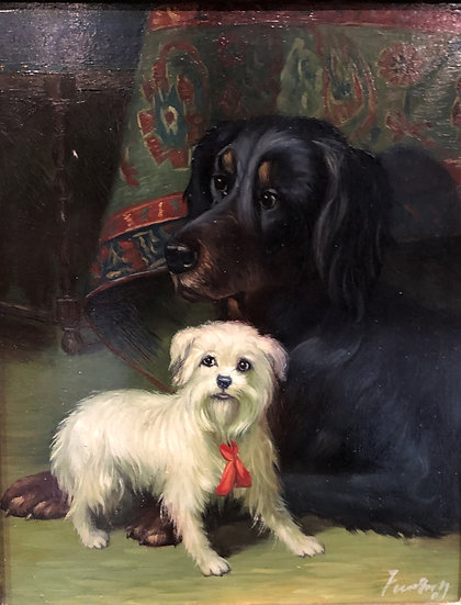 FINE ORIGINAL ANTIQUE Quality Artist OLD MASTER Style OIL PAINTING Dogs GGF