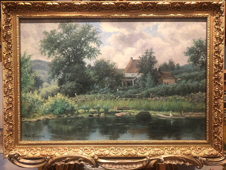 """OIL PAINTING IN FINE GOLD GILT FRAME """"Old master style"""" Beautiful River Scene"""