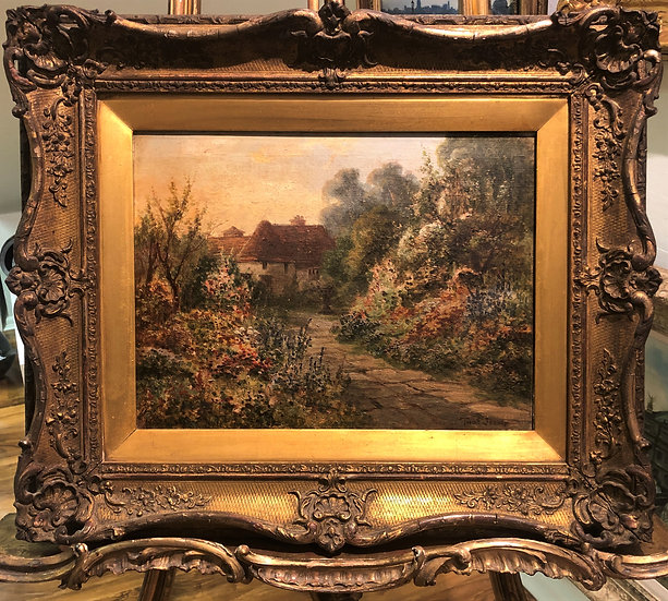 FINE ORIGINAL ANTIQUE 19th Century British OLD MASTER PAINTING ROMANTIC COTTAGE