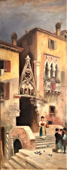 OIL PAINTING of VENICE Large Fine Frans Wilhelm Odelmark (1849-1937)