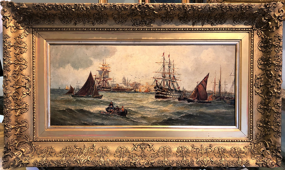 OLD MASTER Large OIL PAINTING 18th CENTURY NAVEL HARBOUR