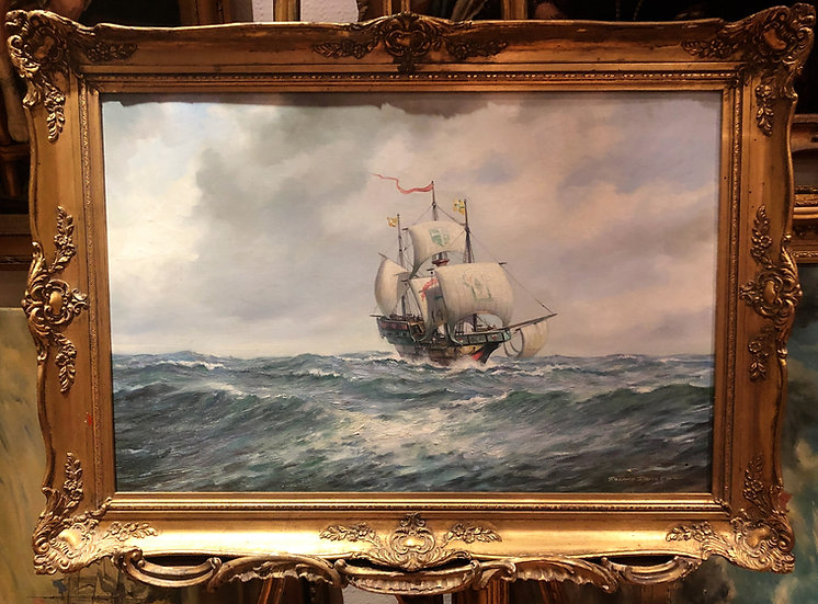 OIL PAINTING Roland Oxford Davies 20th Century ( OLD MASTER STYLE ) GOLD FRAME