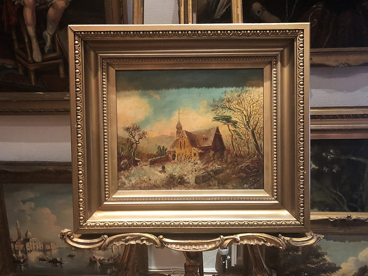 OIL PAINTING FINE OLD MASTER  19th CENTURY BRITISH SCHOOL GOLD FRAME