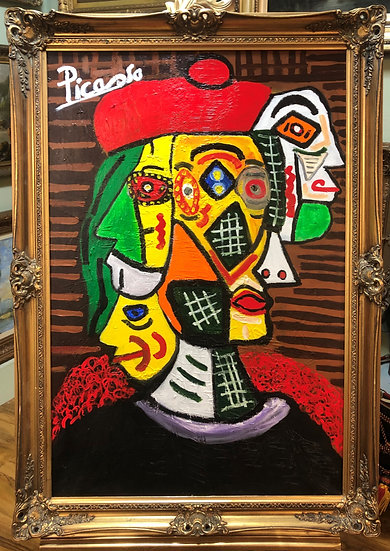 OLD MASTER PICASSO LARGE CANVAS OIL PAINTING 20th CENTURY FRAMED