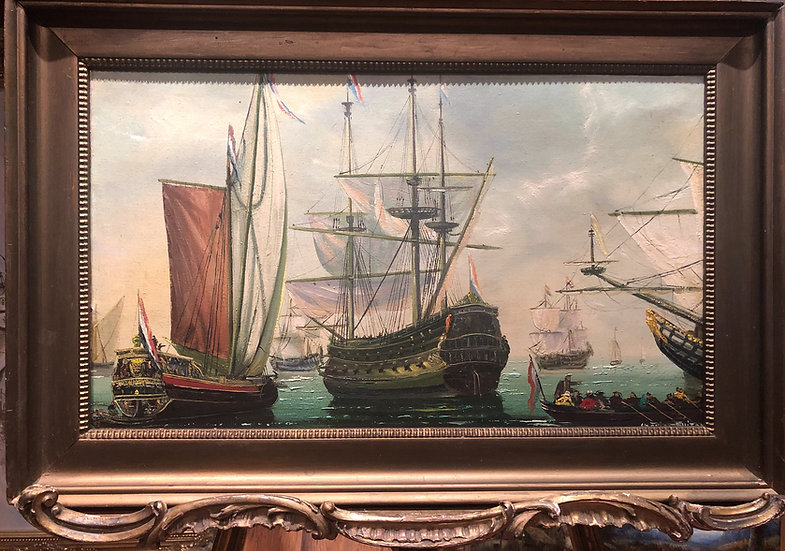 OIL PAINTING ( DUTCH NAVY ADMIRALTY ) MARITIME WAR PIECE MASTER 20th CENTURY
