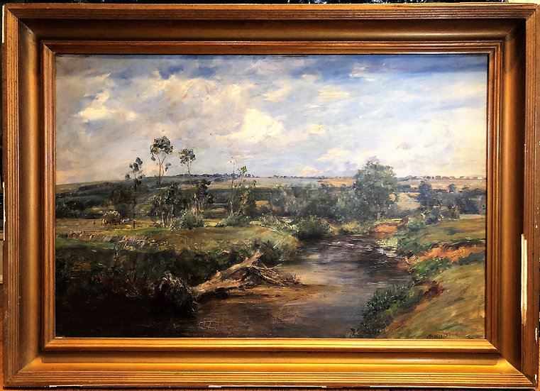 OLD MASTER CIRCLE OF JOHN CONSTABLE LARGE OIL PAINTING 19th CENTURY GOLD FRAME