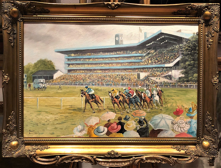 OIL PAINTING ASCOT RACE COURSE By BERNARD McMULLEN FINE IMPRESSIONISM 20th CENT