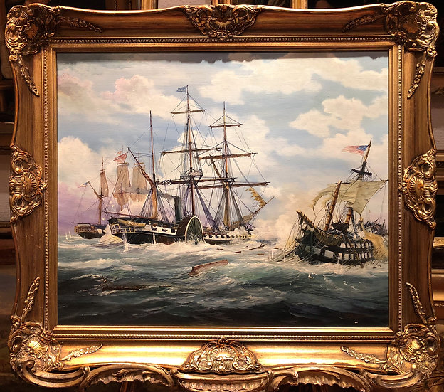 OIL PAINTING MASTER E .G. BURROWS 20th CENTURY MARINE SHIP SCENE GOLD GILT FRAME