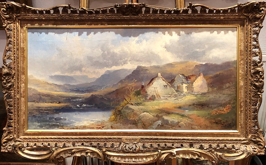 FINE OLD MASTER OIL PAINTING 19TH Century by joseph horlor GOLD GILT FRA
