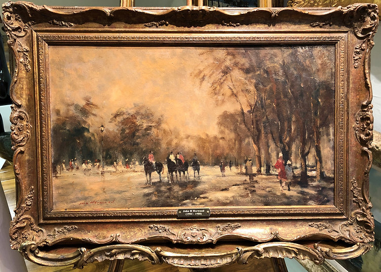 OIL PAINTING of a Racing Horses Mid 20th Century in a Gold Gilt Frame