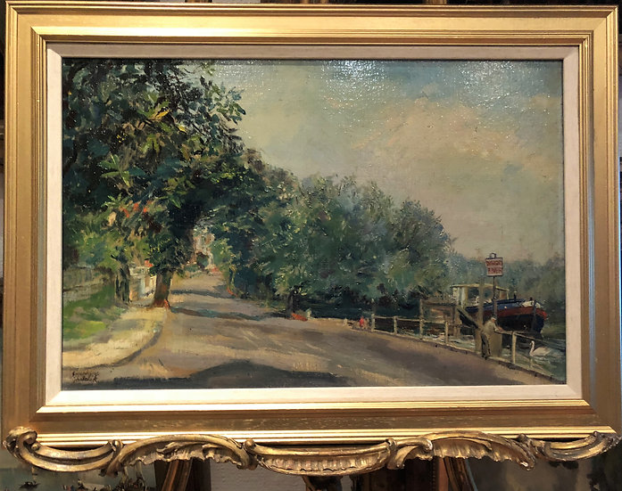 OIL PAINTING LARGE IMPRESSIONISM Josephine Ghilchik mid 20th century GOLD FRAME