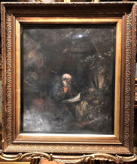 OLD MASTER LARGE OIL PASTEL PAINTING LATE 19th CENTURY Powerful Scene GOLD FRAME