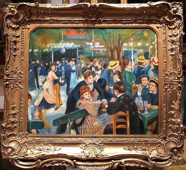 """FINE LARGE OIL PAINTING """"LE Moulin de la Galette"""" BY RENOIR 20th CENTURY PIECE"""