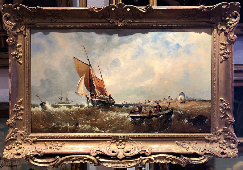 OLD MASTER By JAMES E .MEADOWS With PROVIDENCE 19th CENTURY OIL PAINTING SHIPS