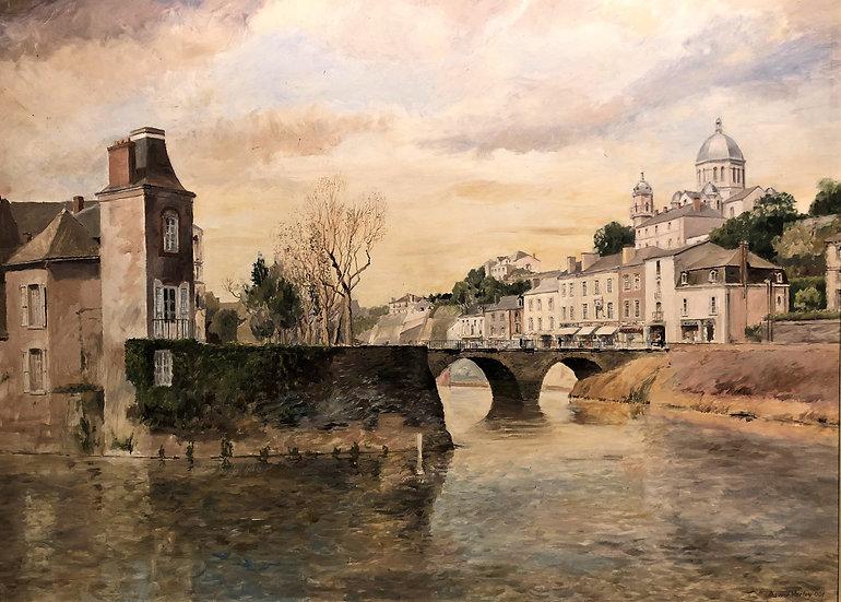 OIL PAINTING Bridge At Segre France LARGE CIRCA 20TH CENTURY BRITISH SCHOOL