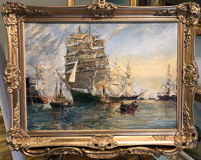 OIL PAINTING MASTER  20th CENTURY BEAUTIFUL HARBOUR  SCENE GOLD GILT FRAME