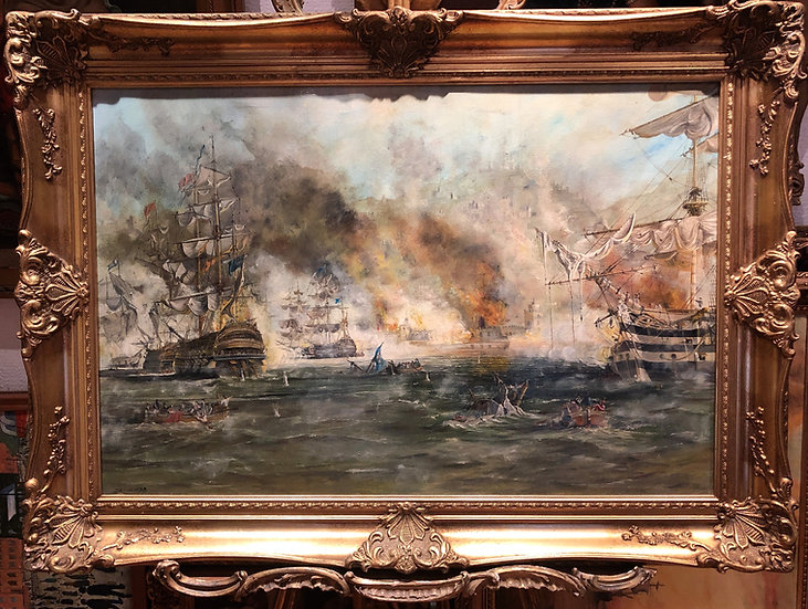 HUGE OIL PAINTING ( WONDERFUL FRAME ) MARITIME SHIP PIECE MASTER 20th CENTURY