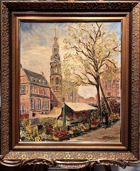 LARGE OIL PAINTING Beautiful executed piece 20th Century IMPRESSIONISN G.G.F